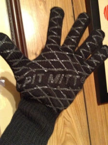 Though my present was Luna's bionic knee, I did get some stocking stuffers, like this BBQ mitt to keep me from burning the hair off my arm each time I cook the fish.