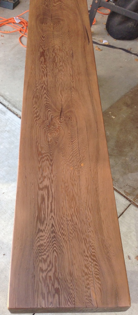 To darken the top, I used four coats of the stain. There's nothing like old wood. It's heavy and the grain pattern is much better than newer wood.
