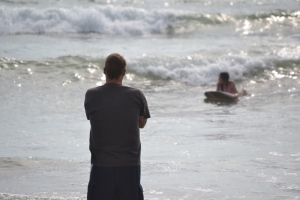 """One of the highlights of the trip was watching my daughter learn to boogie board. When my advice failed, she got angry. When it worked, she caught a wave and yelled, """"Did you see that one, Daddy?"""" Yes, yes, I did. And it was great."""