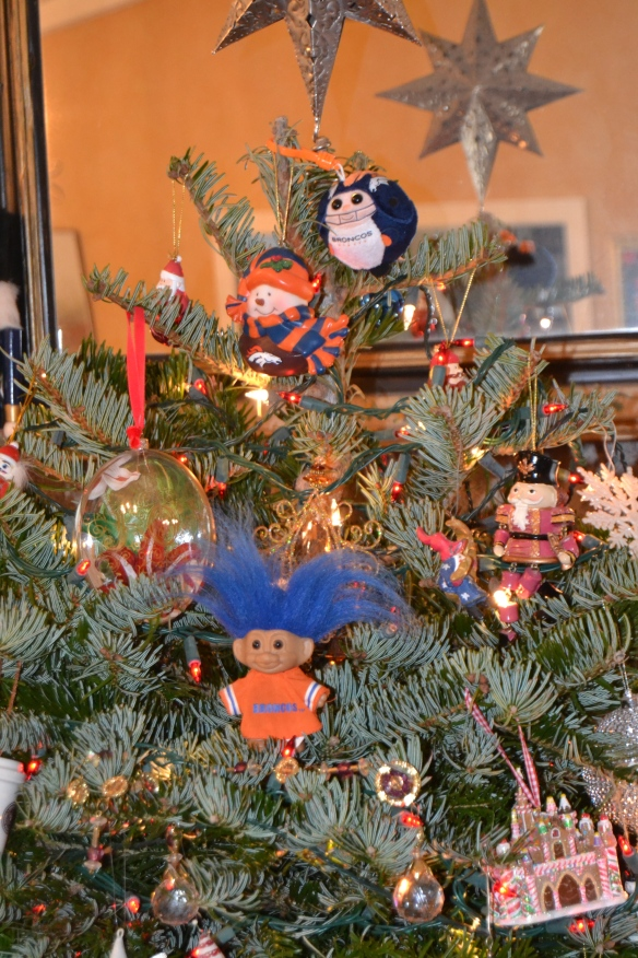 When you put me in charge of decorating the Christmas tree this is what happens: The Broncos ornaments get prime placement and a lucky troll joins the party.